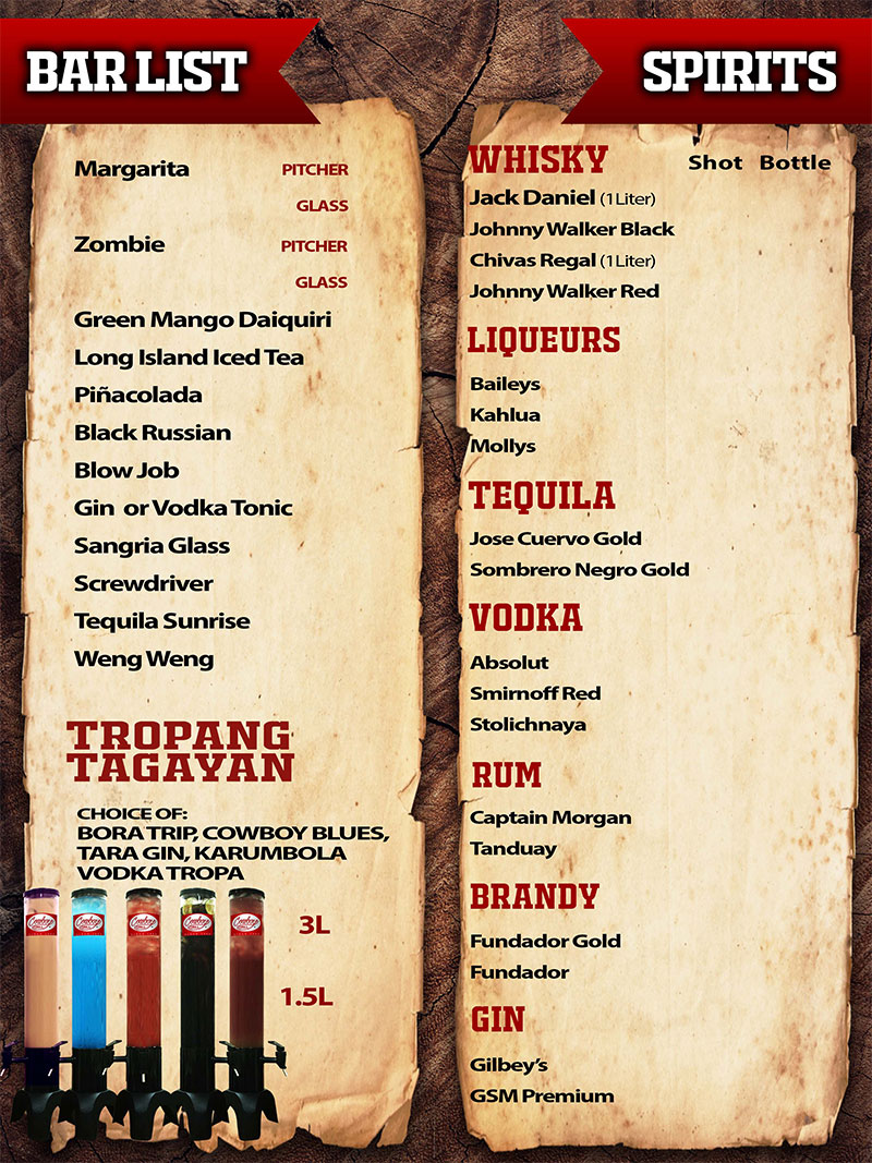 food menu of cowboy grill philippines